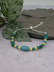 Turquoise and Sterling Silver Slider Bracelet