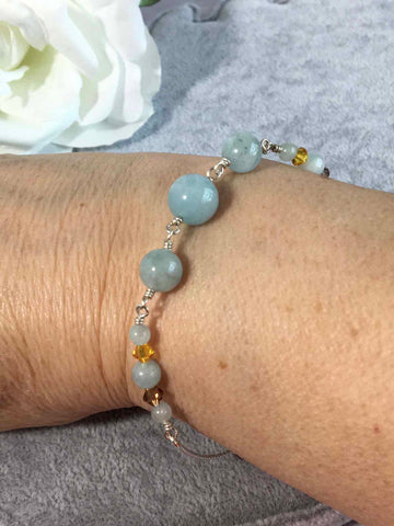 Aquamarine and Crystal Sterling Silver Slider Bracelet