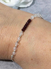 Ruby with Crackled Quartz Sterling Silver Slider Bracelet
