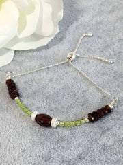 Garnet with Peridot Sterling Slider Bracelet