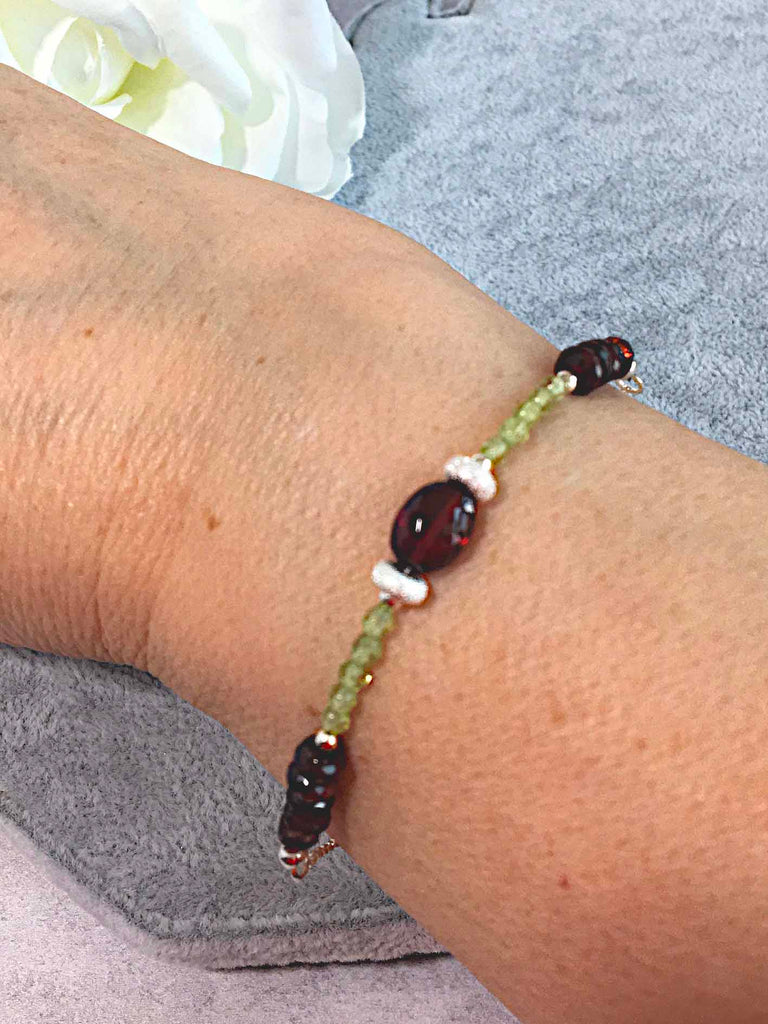 Garnet and Peridot Sterling Silver Slider Bracelet