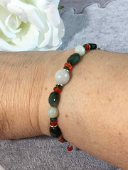 Emerald Jadeite and Carnelian Sterling Slider Bracelet