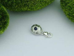 Blue Sapphire Solid Sterling Silver Pebble Charm