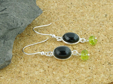 Black Spinel Delight Earrings - Sterling Silver, Black Spinel & Peridot
