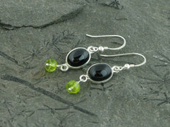 Black Spinel Delight Earrings - Sterling Silver with Black Spinel & Peridot at Jewellery by Linda