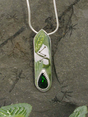 Rune necklace and black opal with green flashes sterling silver