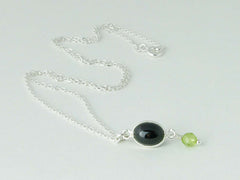 Black Spinel Delight Necklace - Petite Cabochon drop of Black Spinel & Peridot at Jewellery by Linda