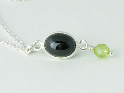 Black Spinel Delight Necklace - Petite Cabochon drop of Black Spinel accented with Peridot