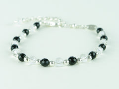 Black Tie Bracelet - Agate & Quartz with Sterling Silver