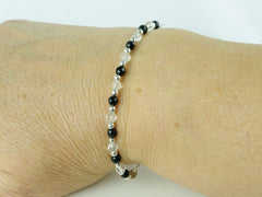 Black Tie Bracelet - Agate, Quartz, Sterling Silver as worn