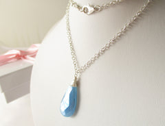 Blue Ice Necklace - Chalcedony & Sterling Silver