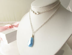 Blue Ice Necklace - Chalcedony with Sterling Silver