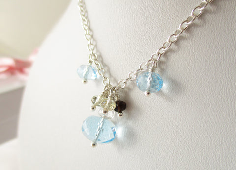 Blue Lagoon Necklace - Topaz & Quartz Sterling Silver