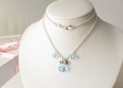 Blue Lagoon Necklace - Swiss Blue Topaz & Quartz