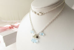 Blue Lagoon Necklace - Swiss Blue Topaz, Quartz & Sterling Silver