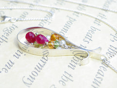 Blush Necklace. Handmade polished sterling silver pear shape surrounding a cascade of rubies, peridot, Madeira citrine and pearl. Harmony Collection. 46cm chain. 5.2cm long pendant