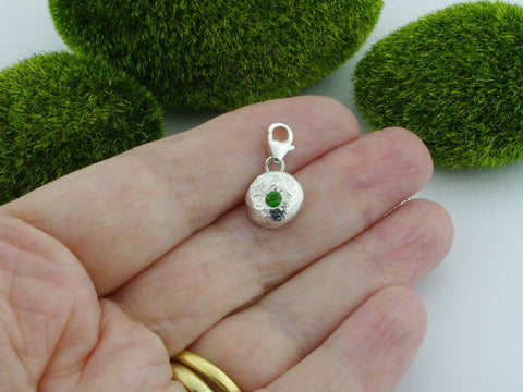 Russian Diopside Solid Sterling Silver Precious Pebble Charm