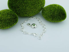 Russian Diopside Solid Sterling Silver Pebble Charm