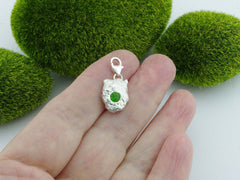 Russian Chrome Diopside Solid Sterling Silver Precious Pebble Charm