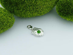 Russian Chrome Diopside Solid Silver Precious Pebble Charm