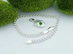 Russian Chrome Diopside Solid Sterling Precious Pebble Charm