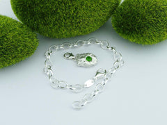Russian Chrome Diopside Solid Sterling Silver Pebble Charm