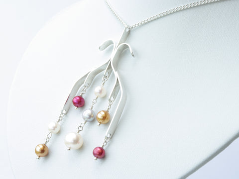 Candra Necklace - Unique Hand Formed Sterling Silver Pendant with Freshwater Cultured Pearls