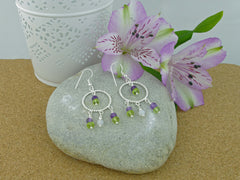 Twisted Circle Chandelier Earrings - Sterling Silver, Amethyst, Peridot