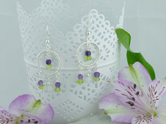 Jewellery by Linda Twisted Circle Chandelier Earrings - Sterling Silver, Amethyst & Peridot