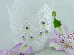 Twisted Circle Chandelier Sterling Silver Earrings - Amethyst & Peridot