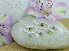 Jewellery by Linda Twisted Circle Chandelier Earrings - Sterling Silver, Amethyst, Peridot, Quartz