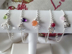 Selection of Gemstone Silver Charm Bracelets from Jewellery by Linda