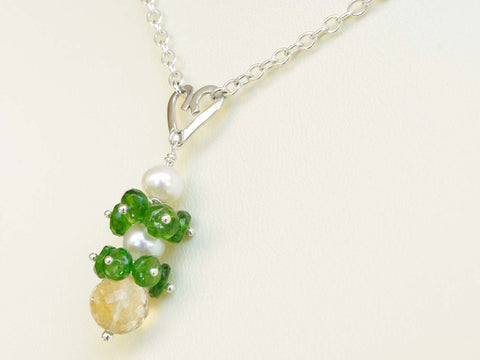 Chloe Necklace - Unique Handmade Sterling Silver Heart With Russian Diopside
