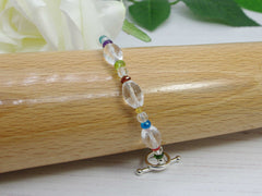 Circus Multi Gemstone Sterling Silver Bracelet with Toggle Clasp