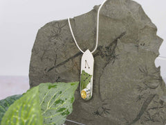 Citrine Oval Runic Sterling Silver Pendant Necklace