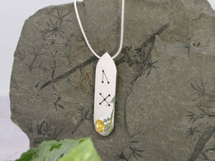 Citrine Oval Runic Sterling Silver Necklace