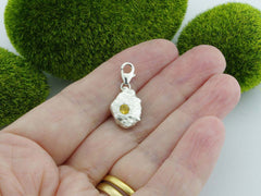 Citrine Solid Sterling Silver Precious Pebble Charm