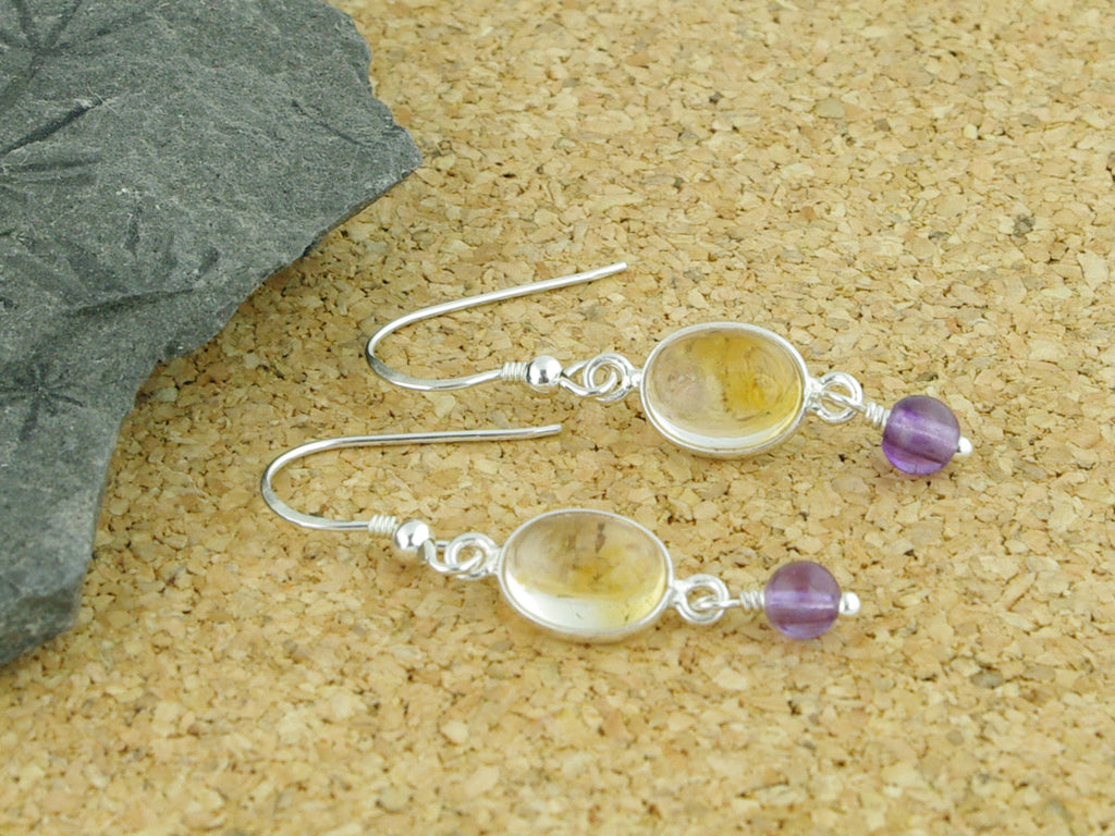 Citrine Delight Earrings - Sterling Silver with Citrine & Amethyst