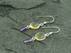 Citrine Delight Earrings - Sterling Silver, Citrine & Amethyst