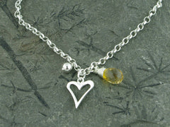 Citrine and Sterling Silver Charm Bracelet