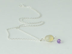 Citrine Delight Necklace - Petite Cabochon drop of Citrine & Amethyst