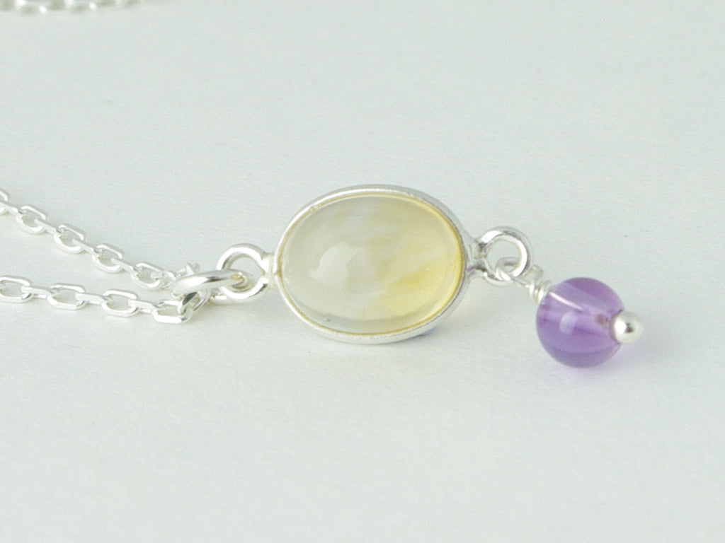 Citrine Delight Necklace - Petite Cabochon drop of Citrine accented with Amethyst