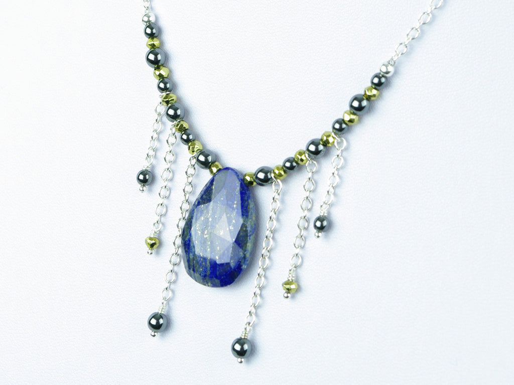 Cleo Necklace - Lapis Lazuli and Haematite on Sterling Silver