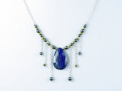 Cleo Necklace - Lapis Lazuli & Haematite on Sterling Silver