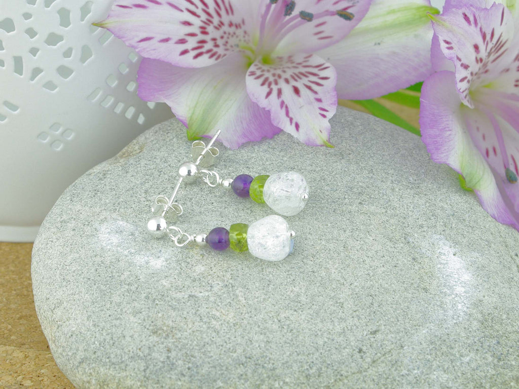 Crackle Earrings - Sterling Silver, Amethyst, Peridot, Quartz