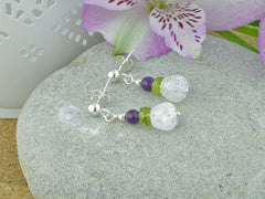Crackle Earrings - Sterling Silver, Amethyst, Peridot, Quartz from Jewellery by Linda