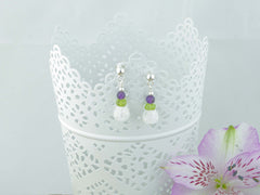 Jewellery by Linda Crackle Earrings - Sterling Silver, Amethyst, Peridot, Quartz