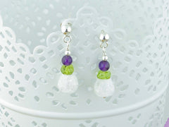 Crackle Earrings - Sterling Silver, Amethyst, Peridot & Quartz