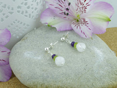 Crackle Earrings - Sterling Silver with Amethyst, Peridot, Quartz