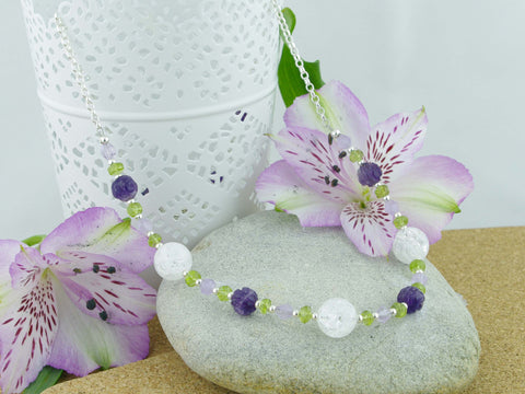Crackle Necklace - Sterling Silver, Amethyst, Peridot, Quartz